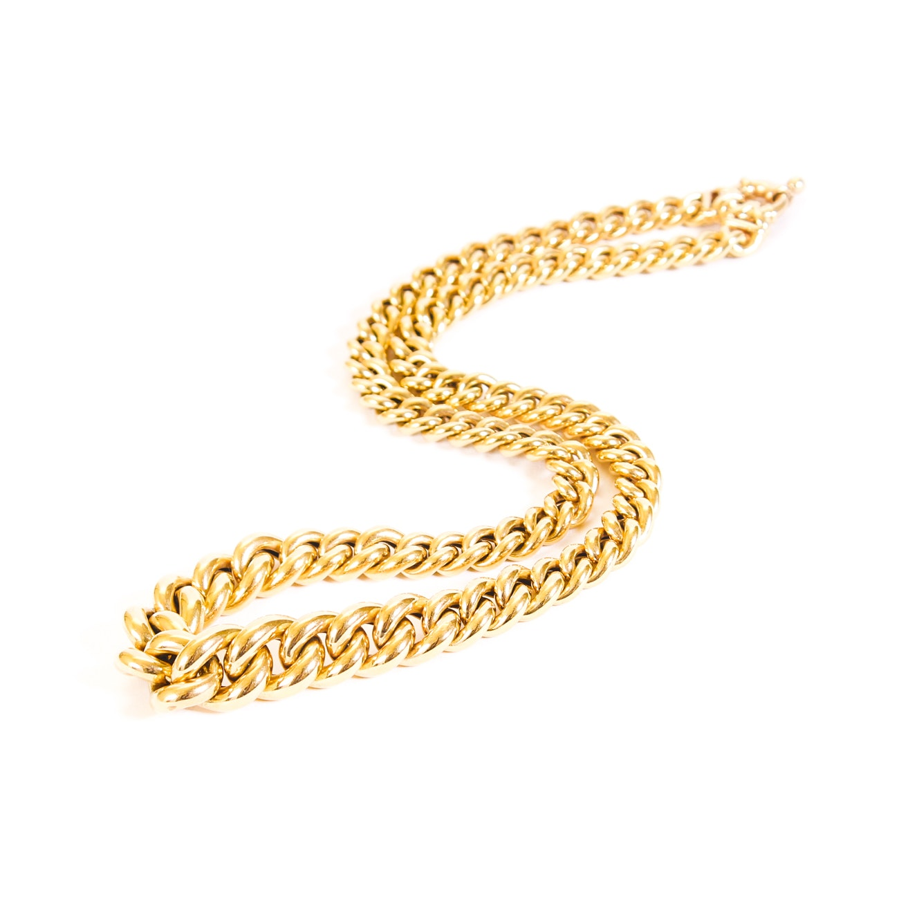 18K Yellow Gold Graduated Curb Chain Necklace