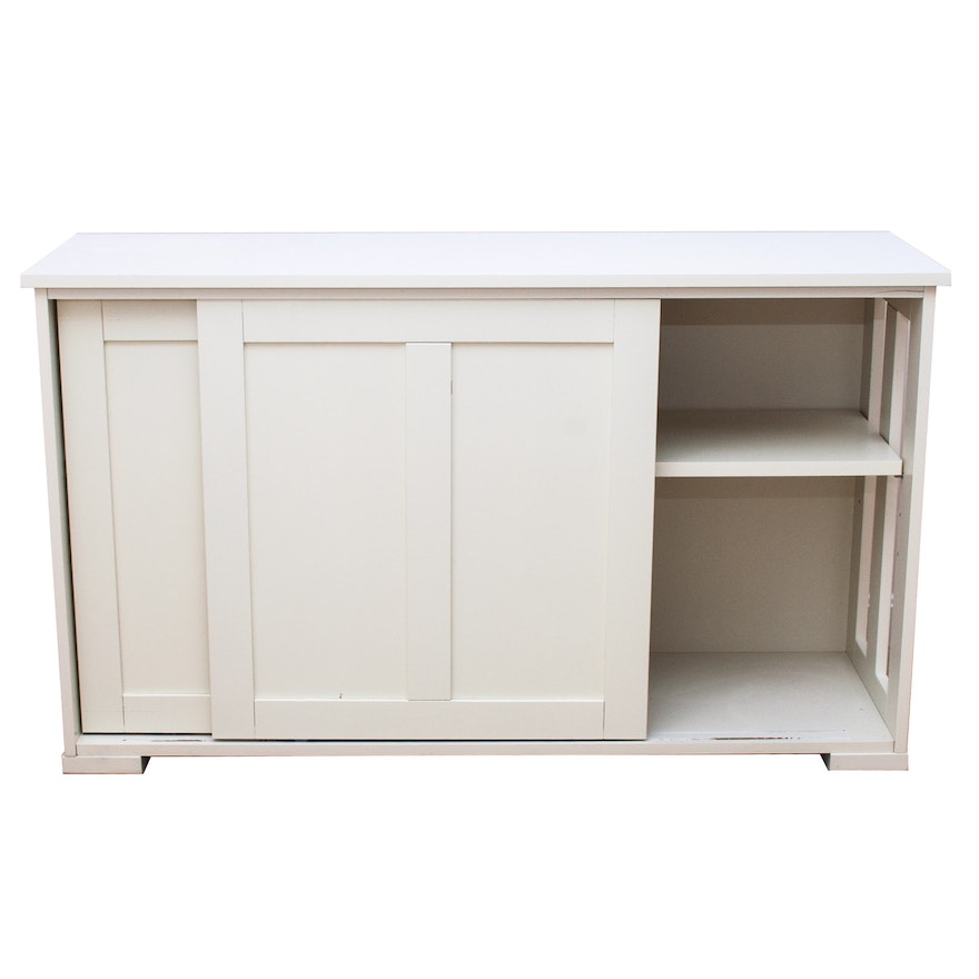 Off White Composite Wood Sliding Door Storage Cabinet Ebth