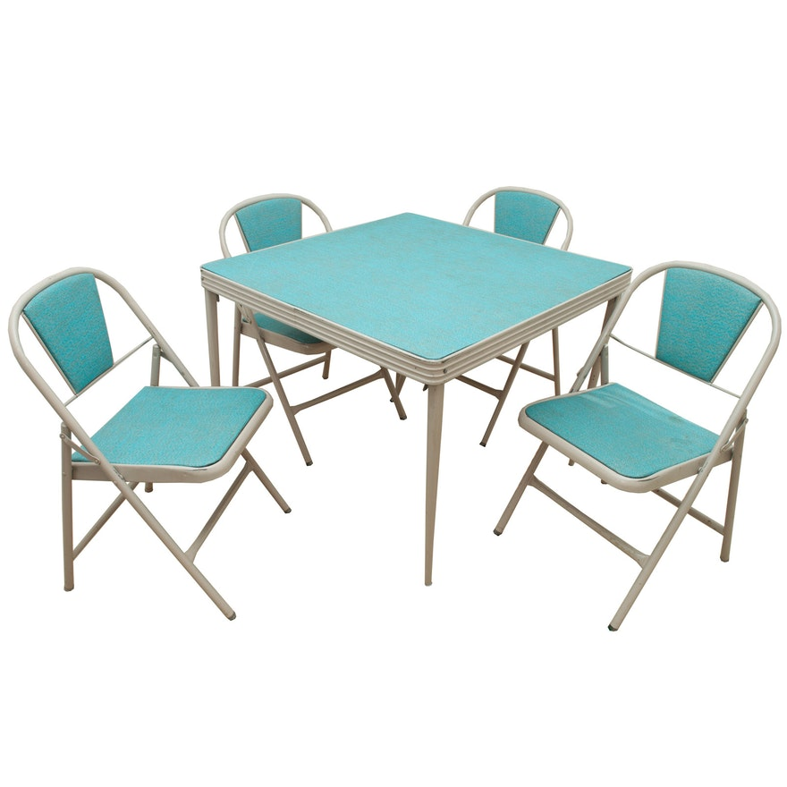 Vintage mid century modern folding table and chairs by for Old table modern chairs