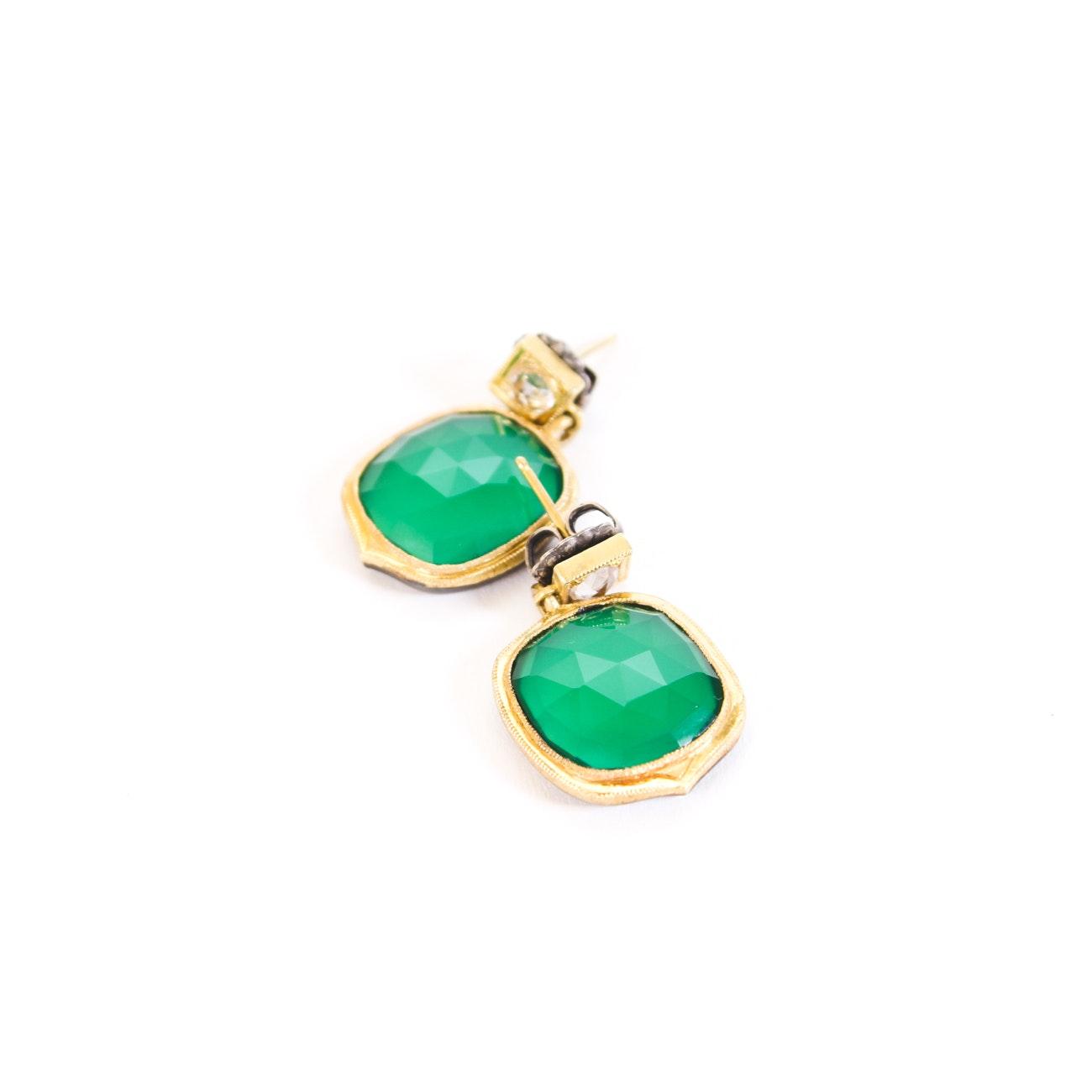 Sterling Silver Gold Tone Green Chalcedony Drop Earrings