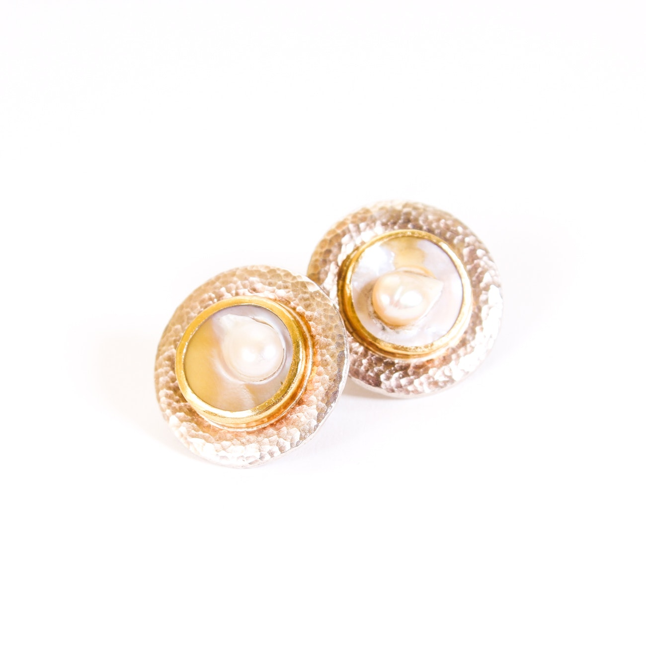 Gurhan Sterling Silver Blister Pearl Earrings