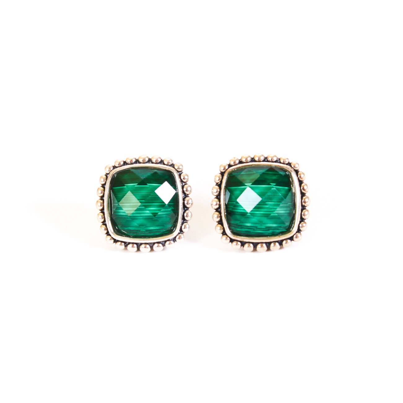 Lagos Sterling Silver Malachite and Quartz Doublet Earrings
