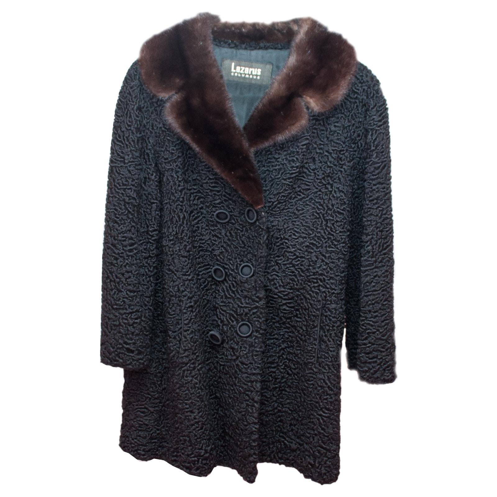 Lazarus Mink Fur Collar with Persian Black Lamb Vintage Coat
