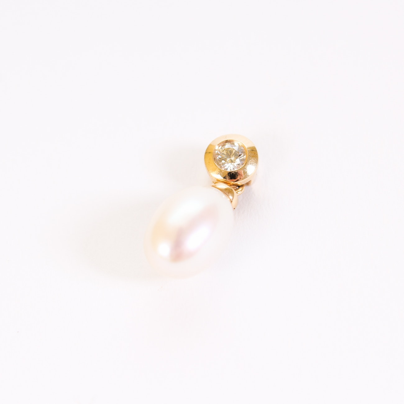 14K Yellow Gold Pearl and Diamond Pendant