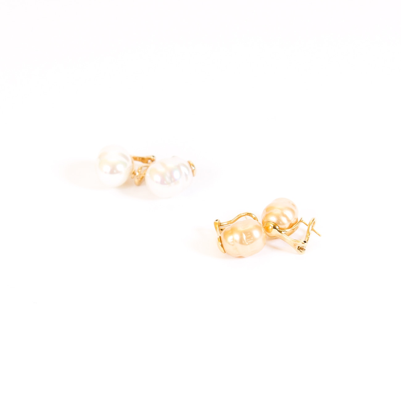Sterling Silver Gold-Tone Imitation Pearl Earrings