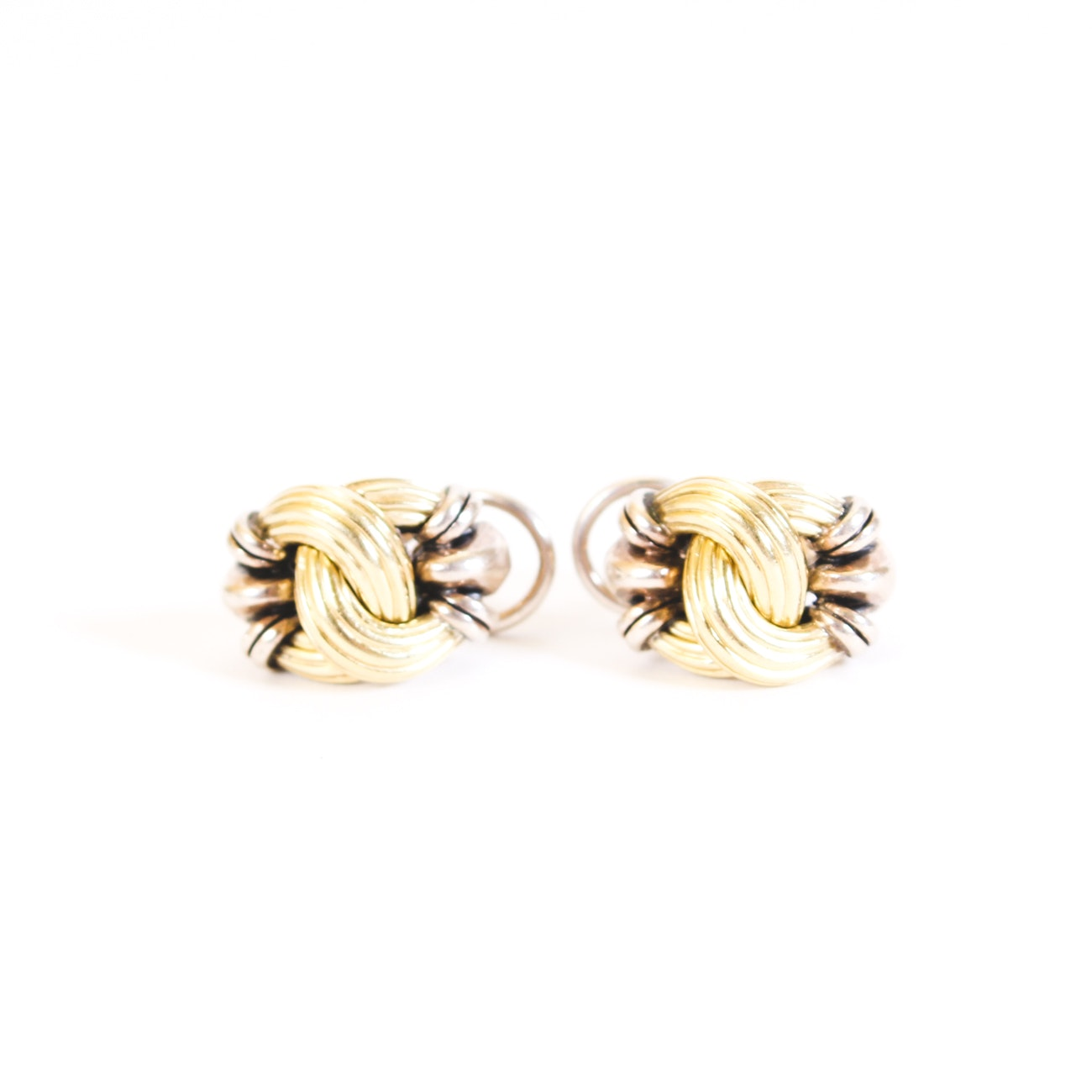 Lagos Caviar Sterling Silver Two-Tone Earrings