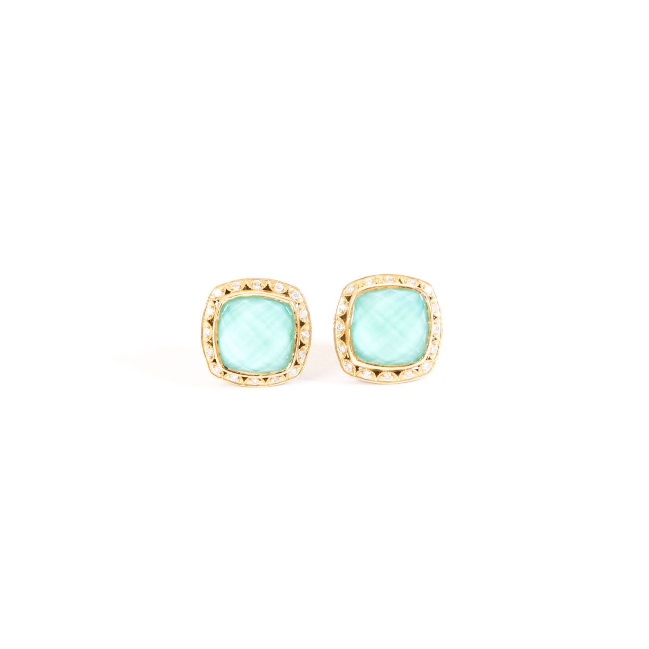 Tacori Sterling Silver Turquoise Quartz and Diamond Earrings