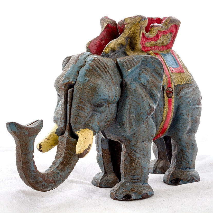 Vintage Circus Elephant Wrought Iron Coin Bank