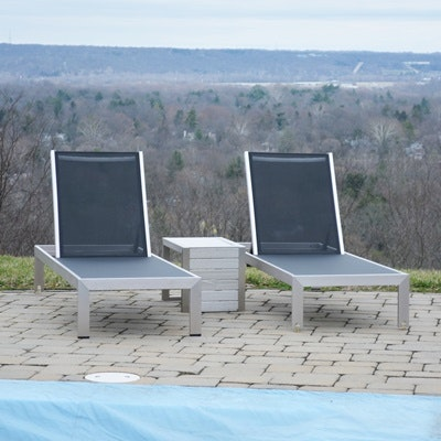 Modway Shore Mesh and Aluminum Patio Chaise Lounge Chairs and Side Table