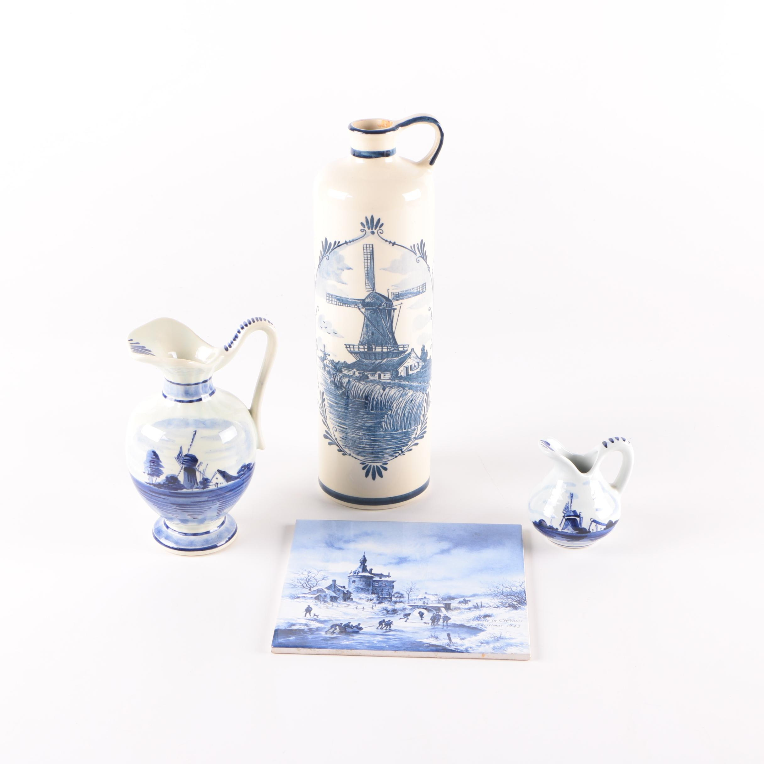 Delft Style Ceramic Jugs and Tile