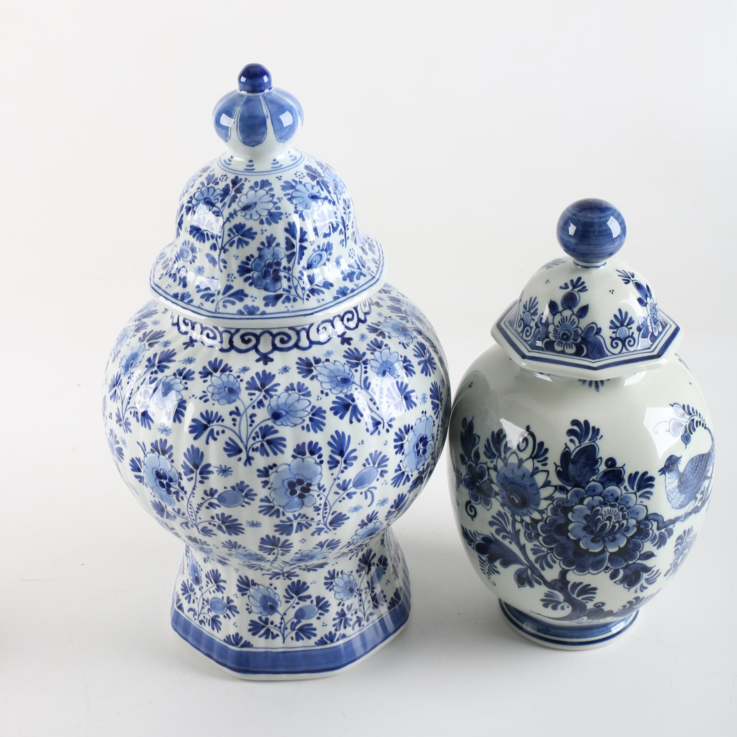 Hand-Painted Delft Style Jars Including Royal Delft and Zenith
