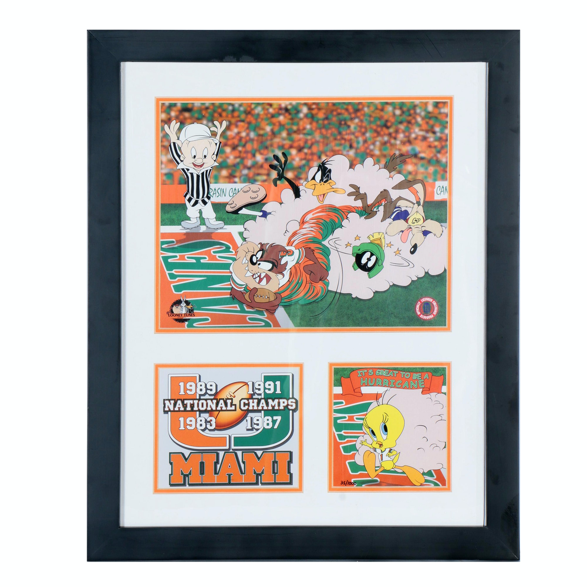 Offset Lithograph Featuring Looney Tunes as College Sports Team