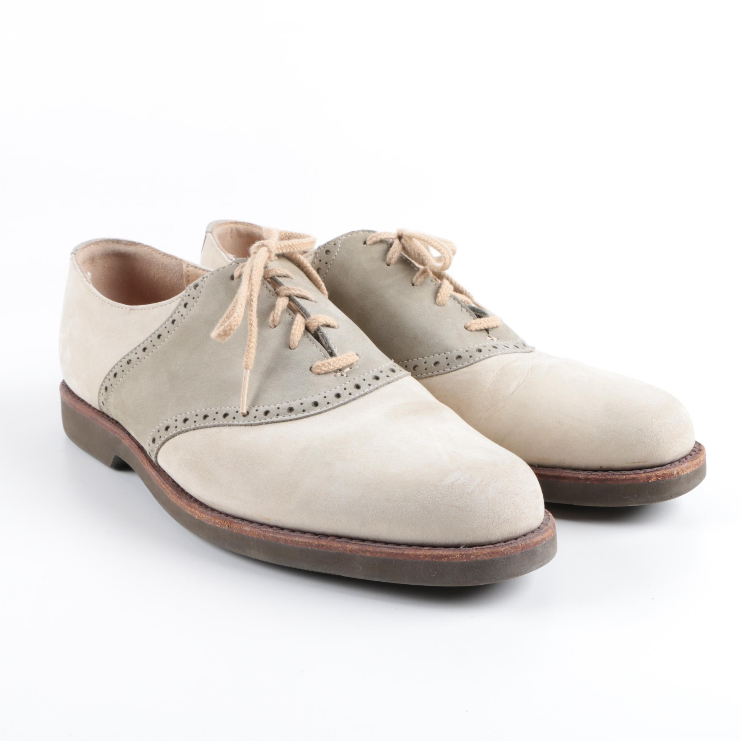 Men's Cole Haan Taupe and Grey Nubuck Oxfords