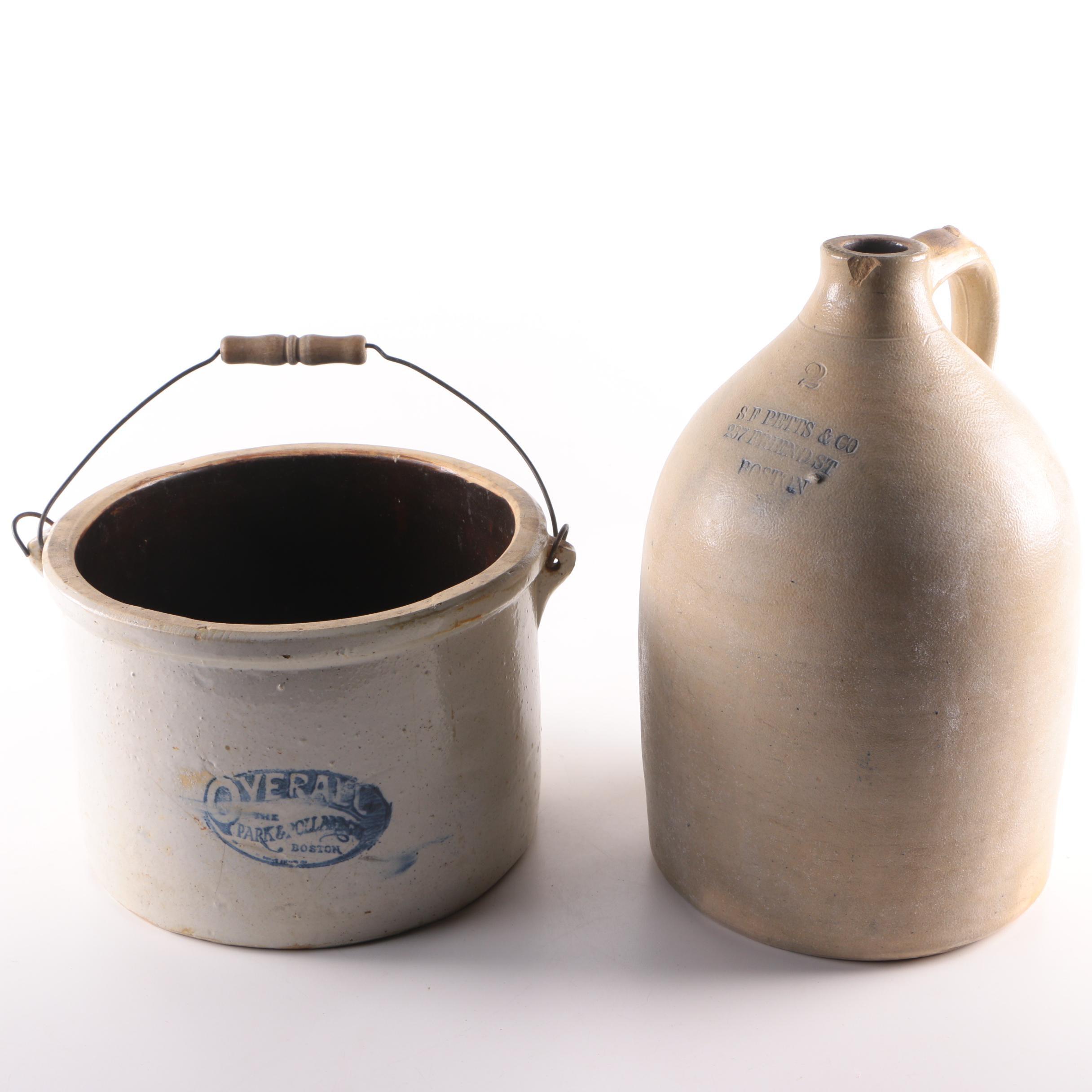 Vintage Stoneware Jug and Crock