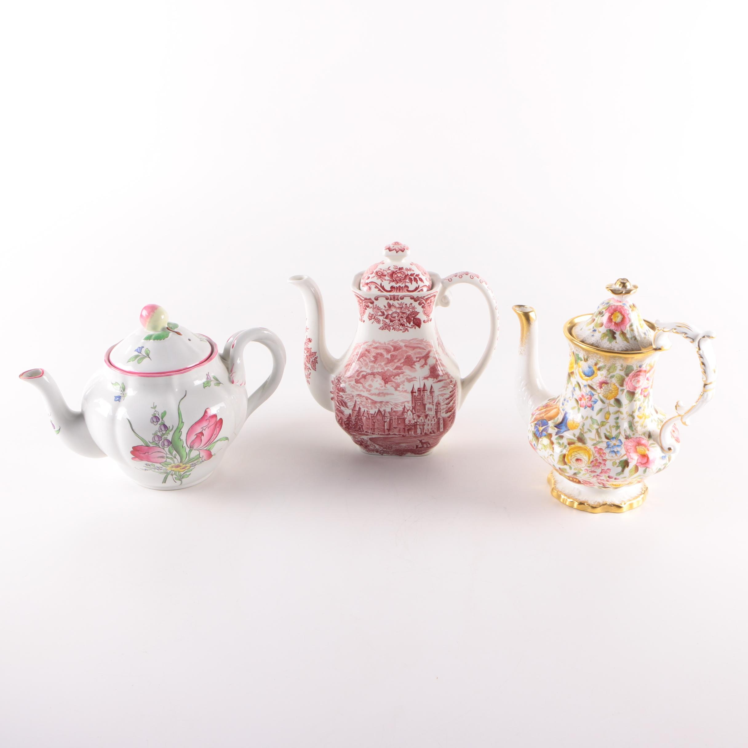 Vintage Teapots Including Spode, Wedgwood and Hammersley