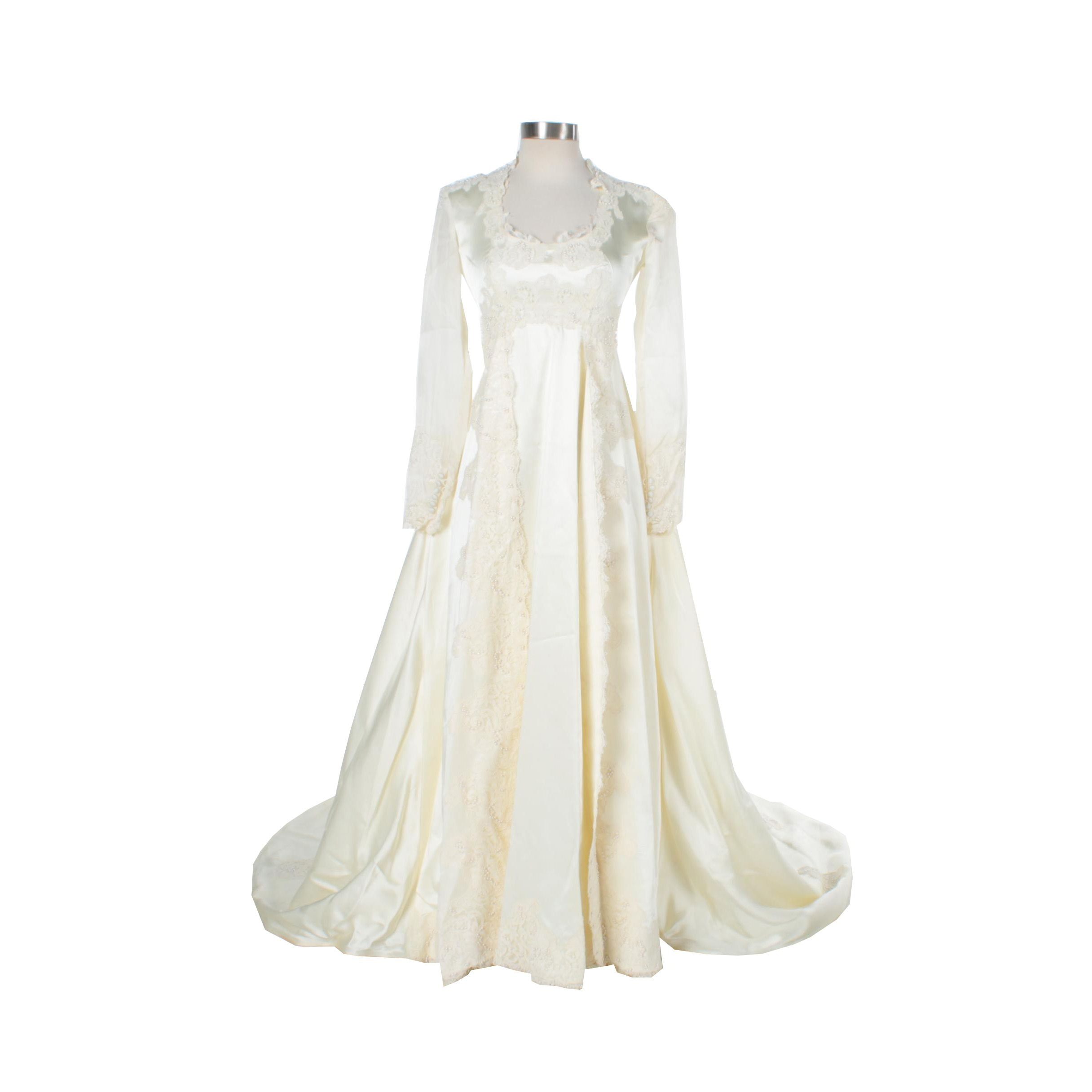 Vintage Ivory Satin and Lace Wedding Gown
