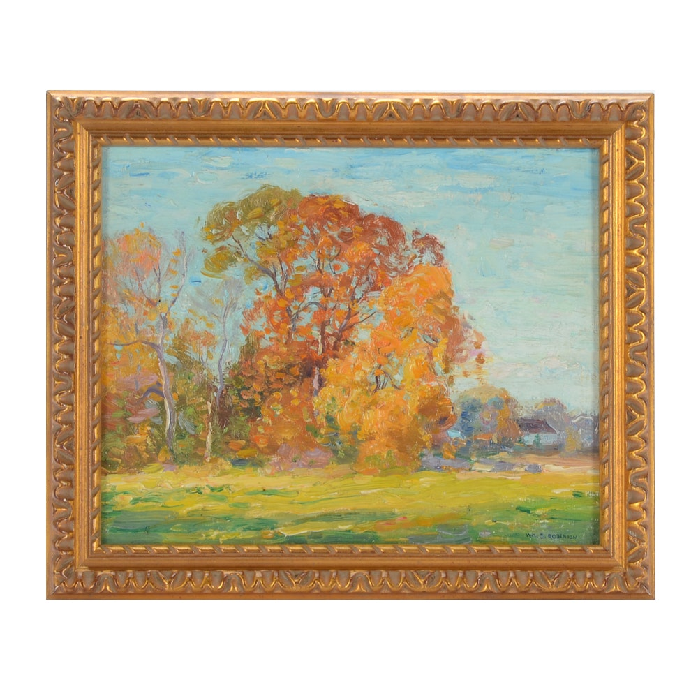 William S. Robinson Vintage Oil Painting on Academy Board of an Autumn Landscape