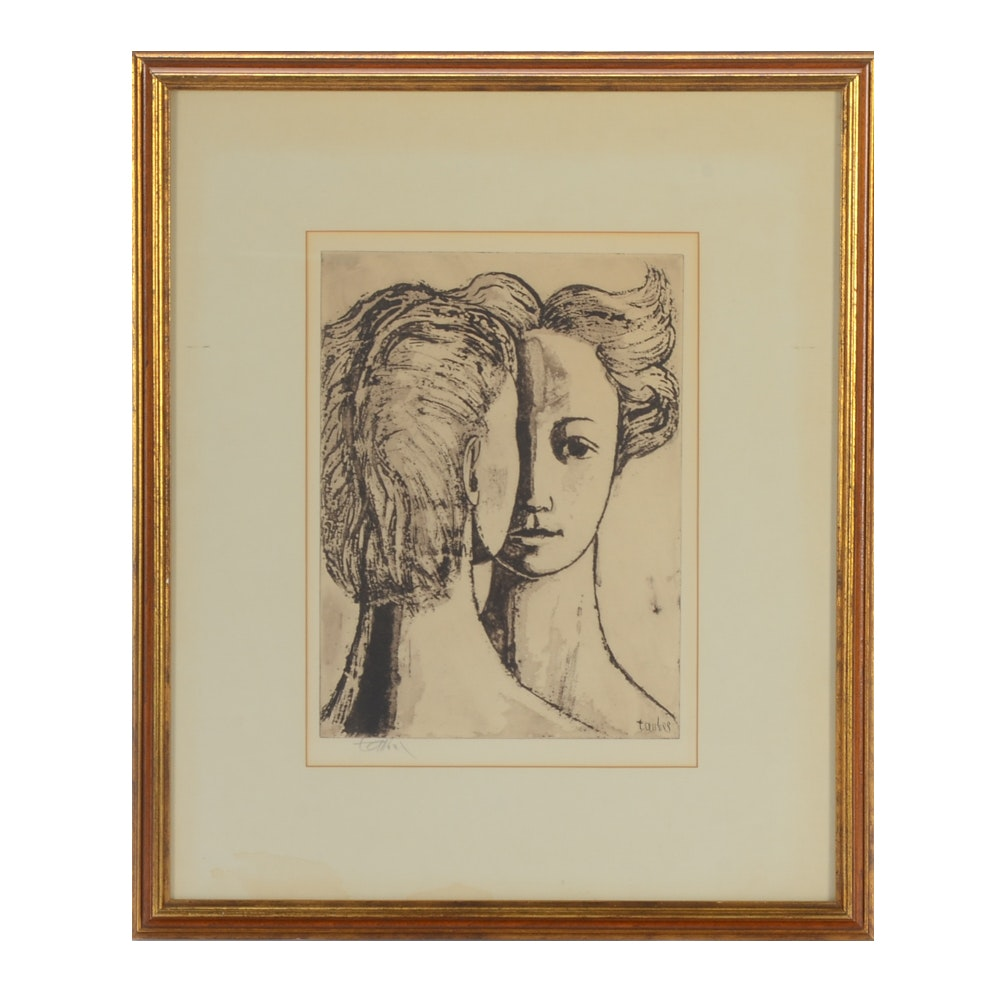 """Frederic Taubes Aquatint Etching """"The Goddess"""""""