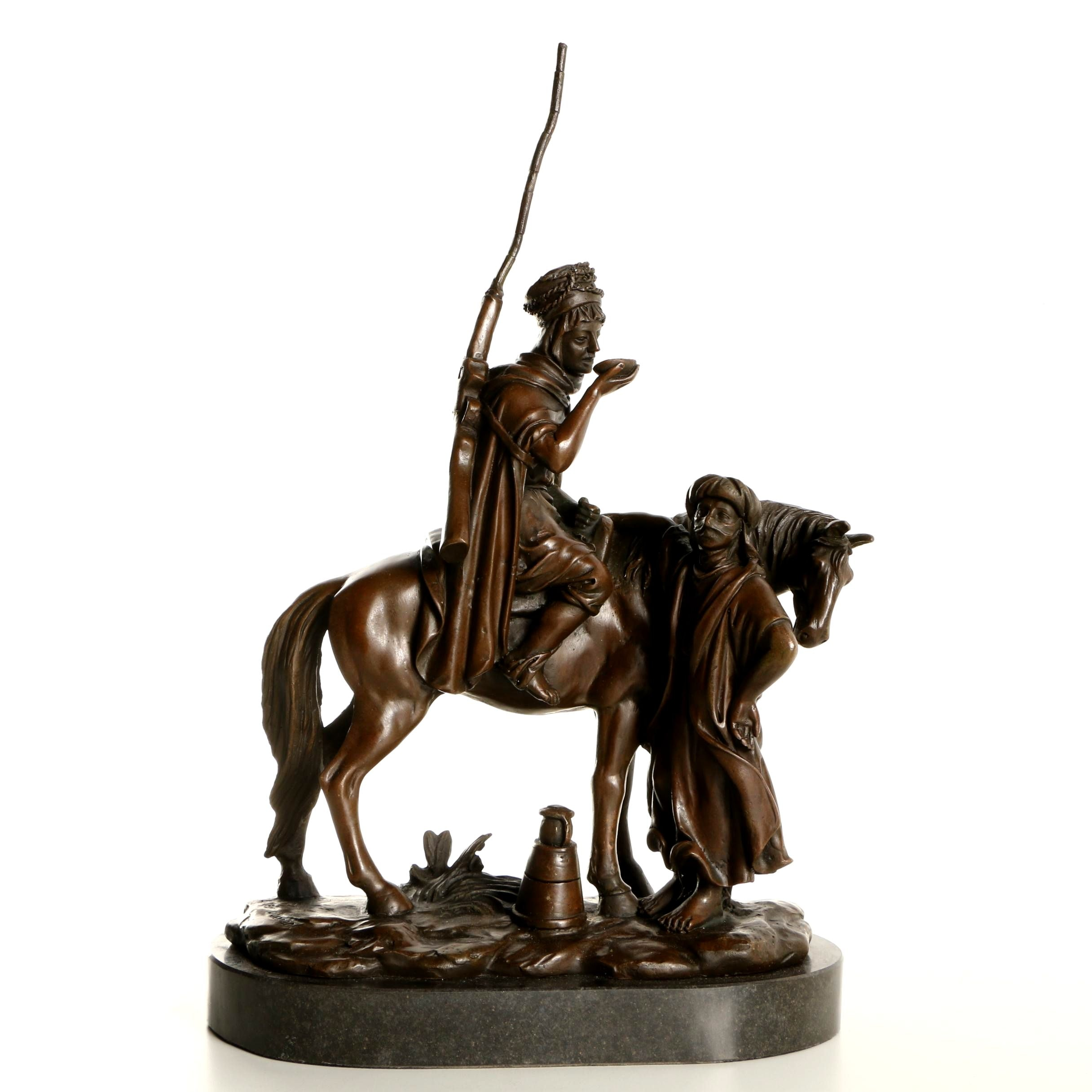 """Brass Sculpture After Alfred Uducan """"Cavalier et Femme Arabe à la Fontaine"""""""