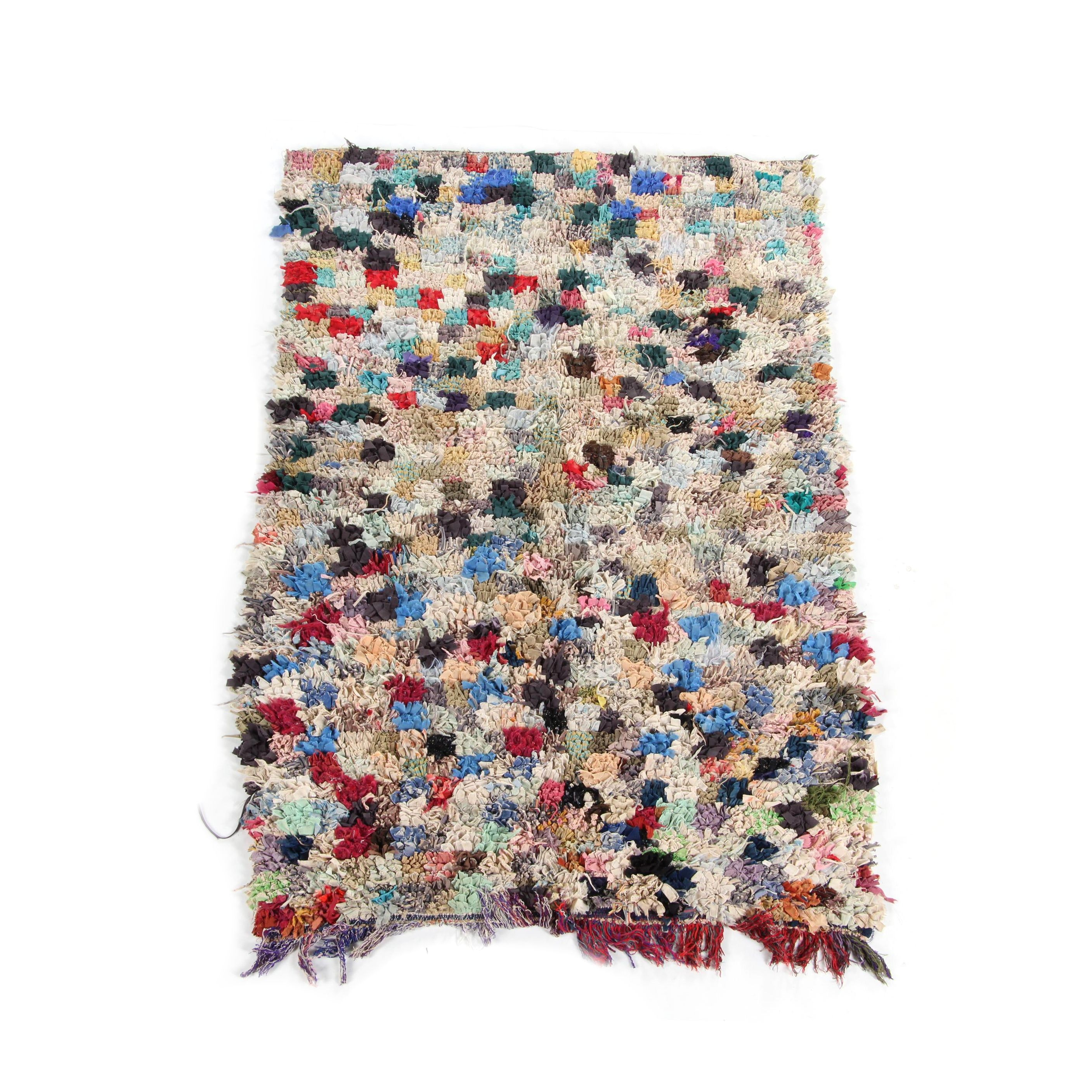 Hand-Knotted Moroccan Boucherouite Area Rug