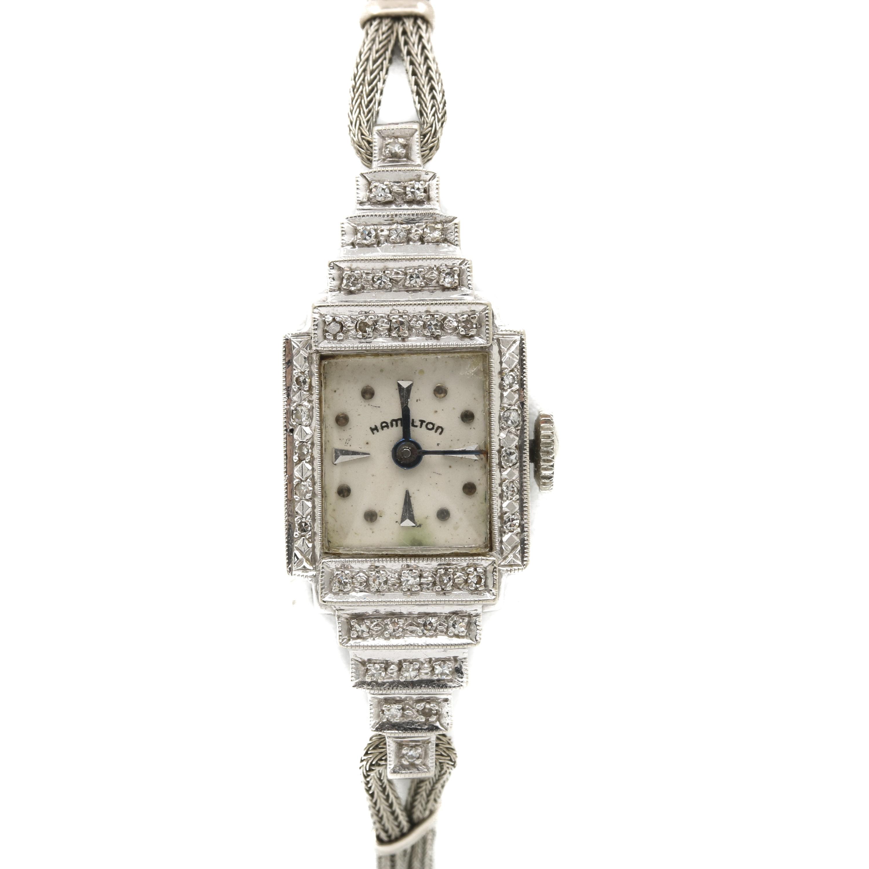 Hamilton 14K White Gold Diamond Stem Wind Wristwatch