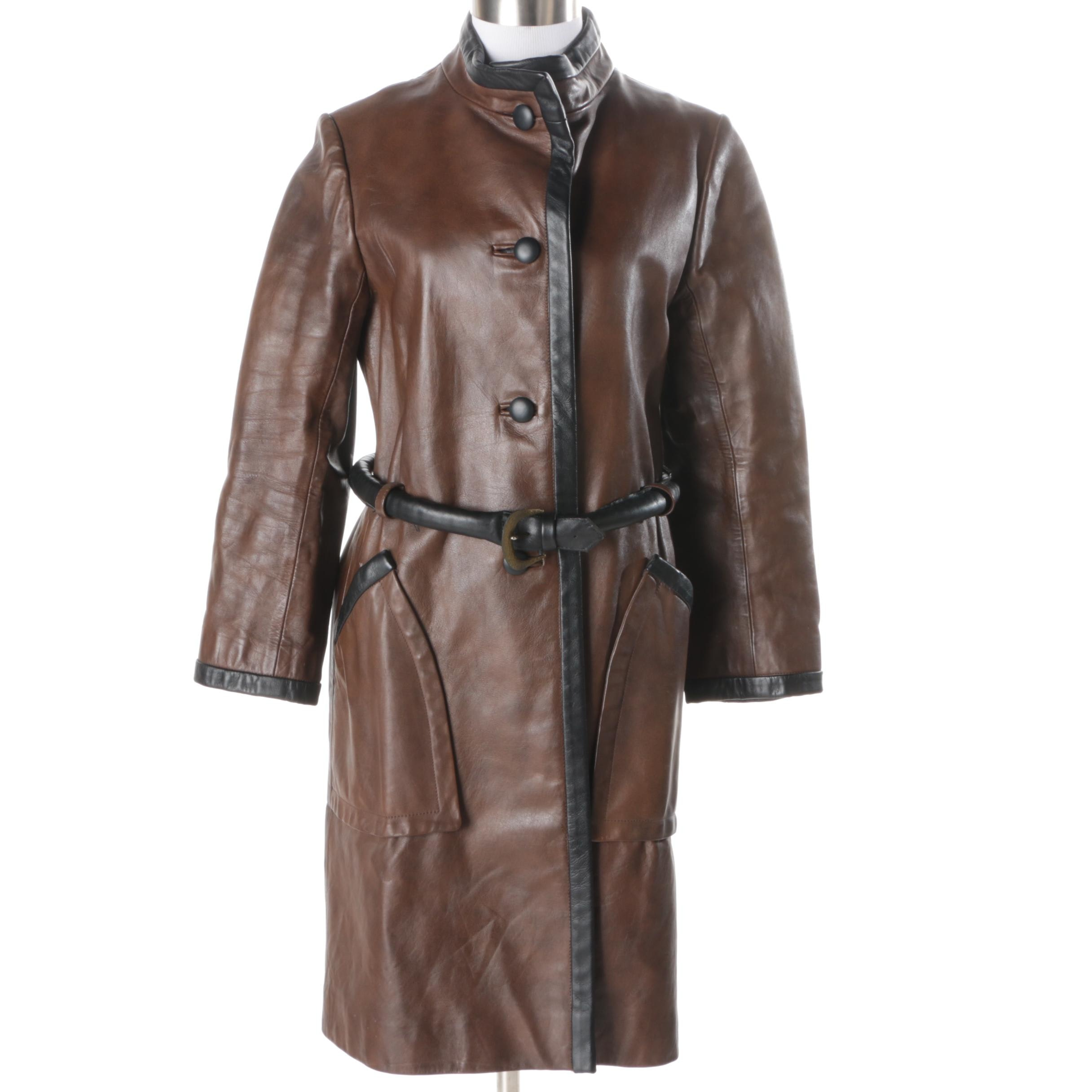 Women's Samuel Robert Brown Faux Leather Coat