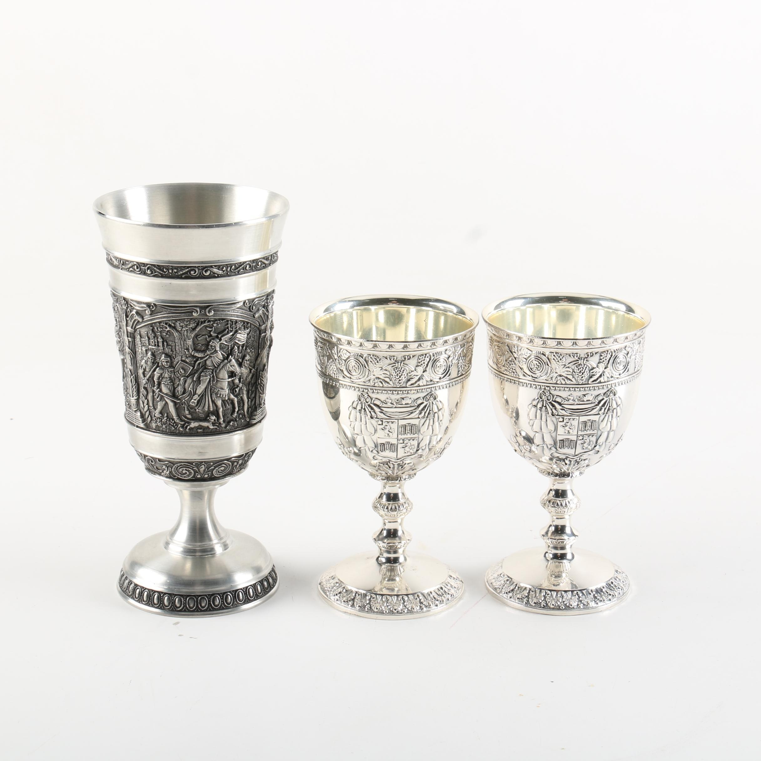 Corbell & Co Silver Plate Goblets and BMF C. Koch Pewter Goblet