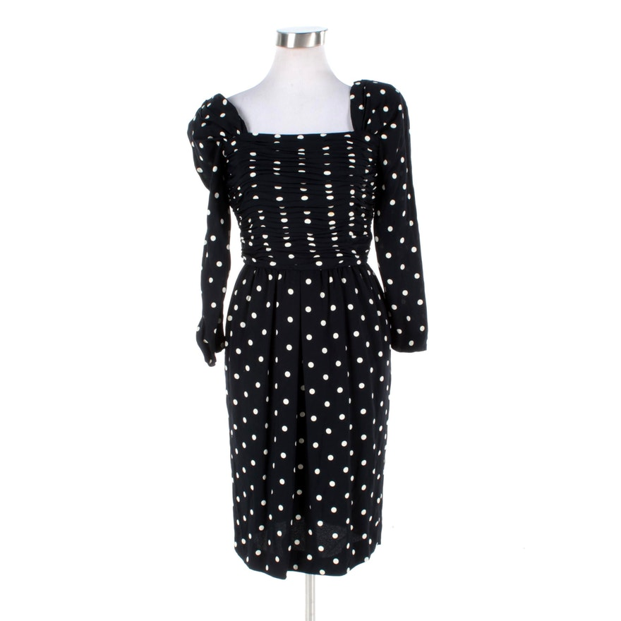 1990s Oscar De La A Black And White Silk Polka Dot Dress