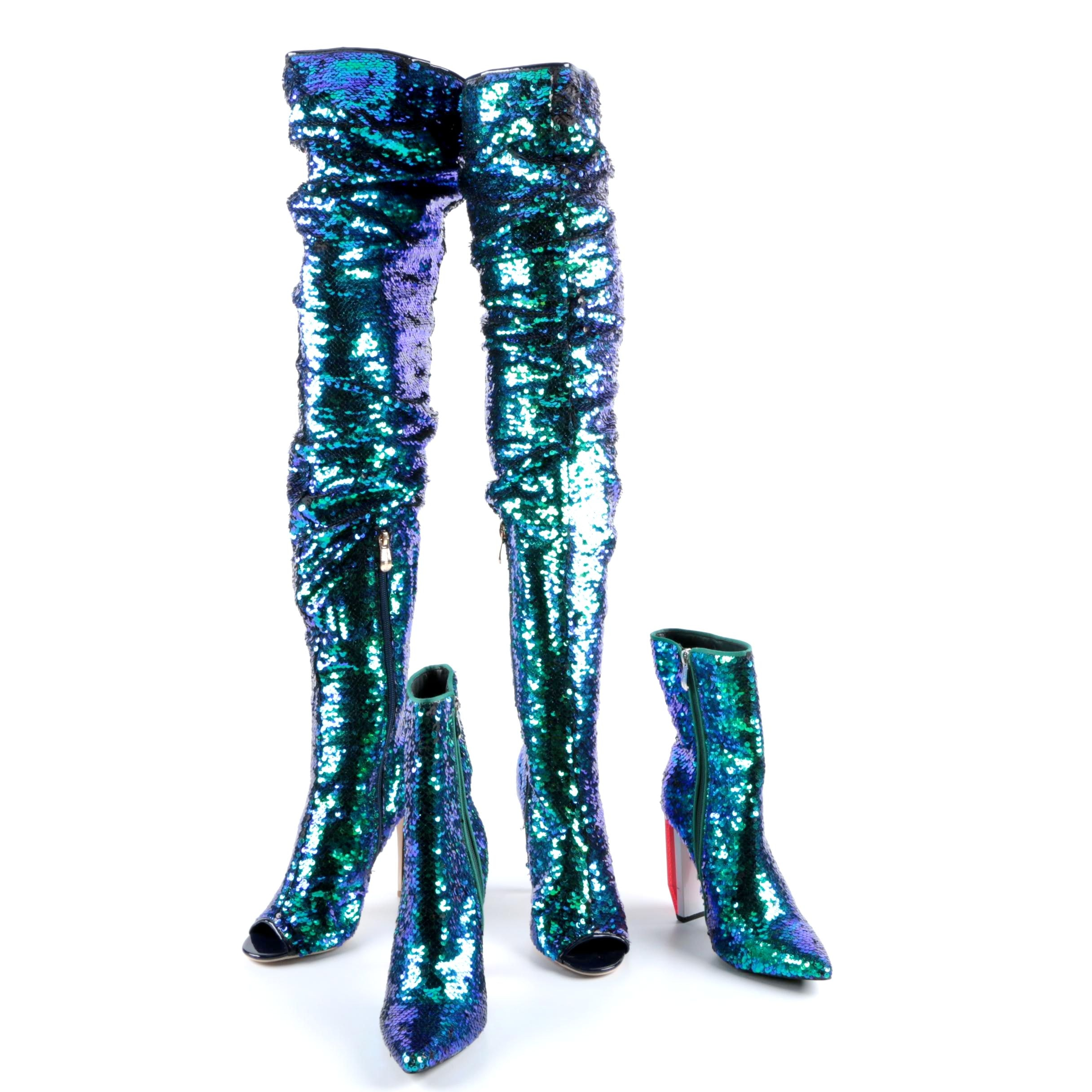 Cape Robbin Sequined Thigh High Boots and Terra Sequined Boots