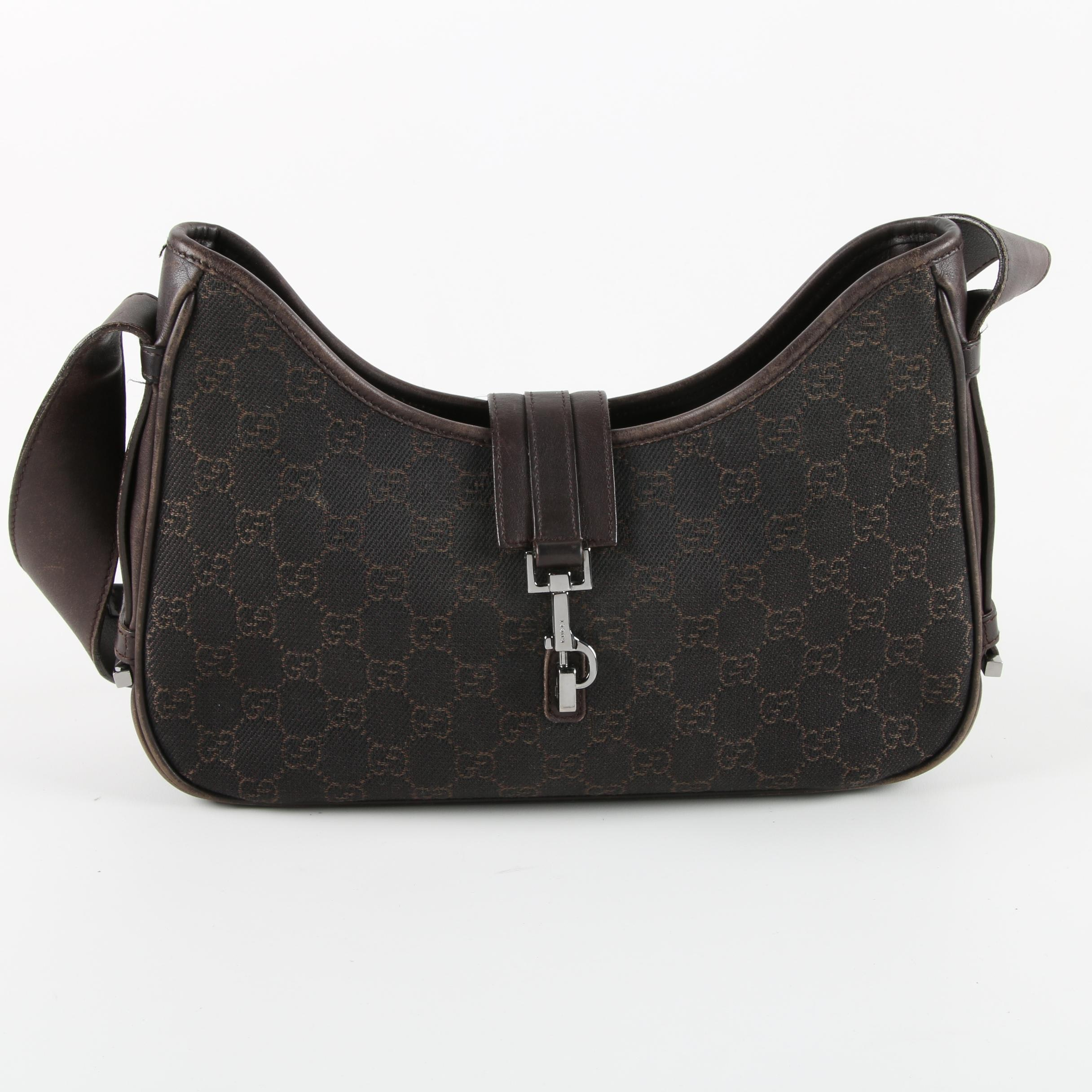 Gucci Jackie Monogram Canvas Shoulder Bag