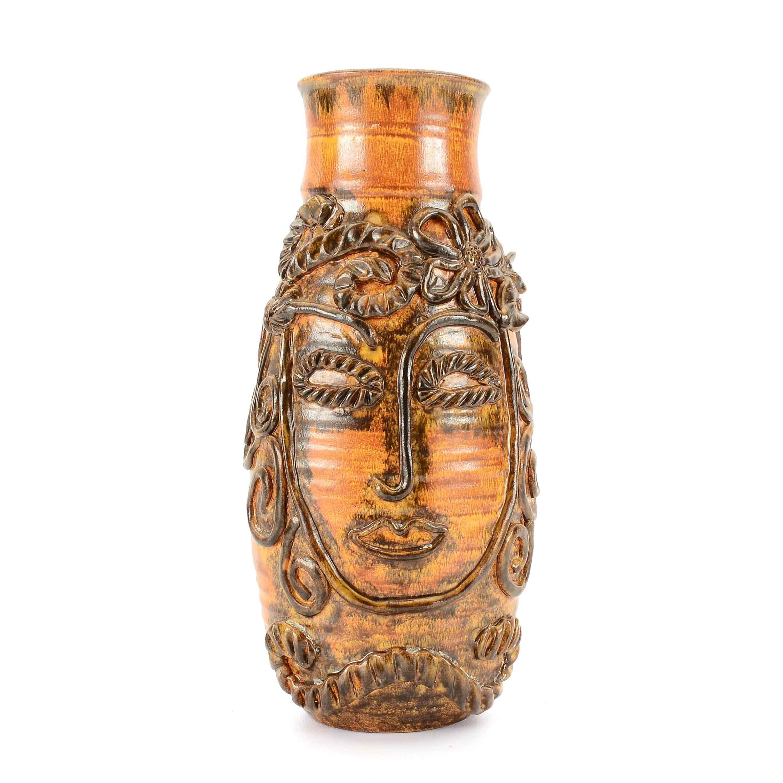 Signed Stoneware Sculptural Vase