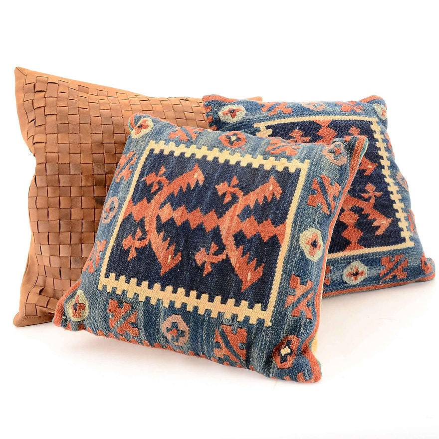 Handwoven Kilim And Restoration Hardware Accent Pillows