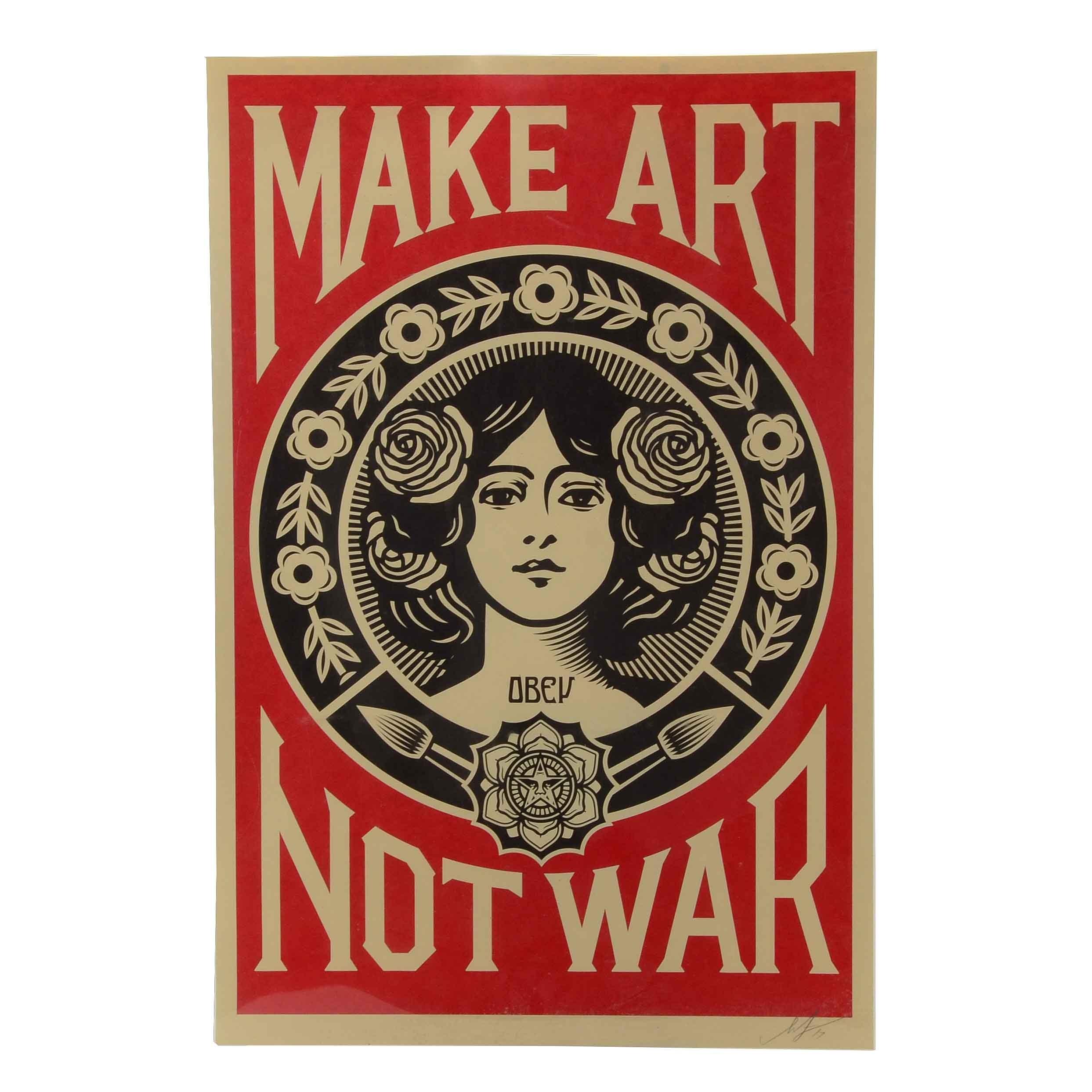"""Shepard Fairey Signed 2017 Offset Poster """"Make Art Not War"""""""