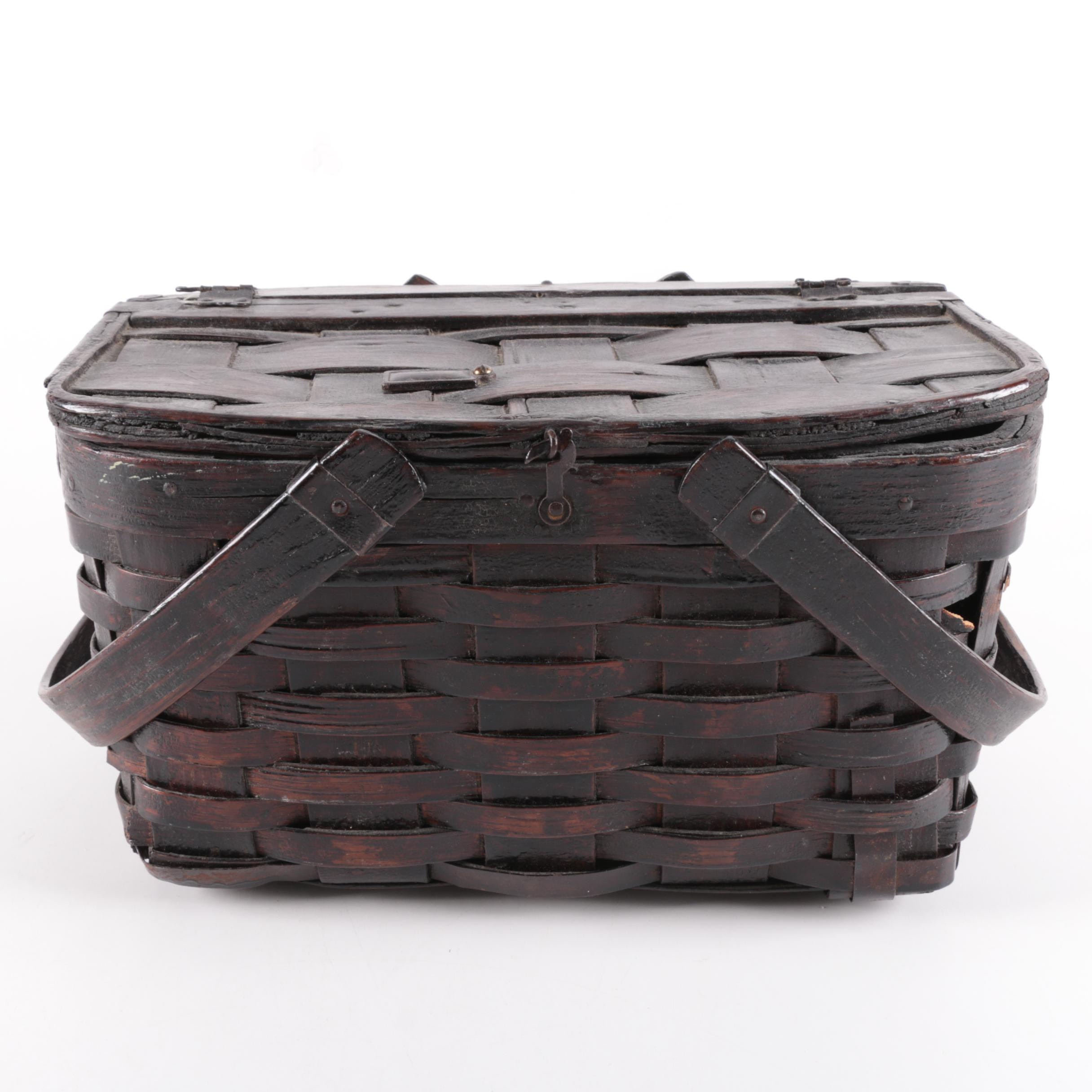 Handled Woven Basket with Hinged Lid