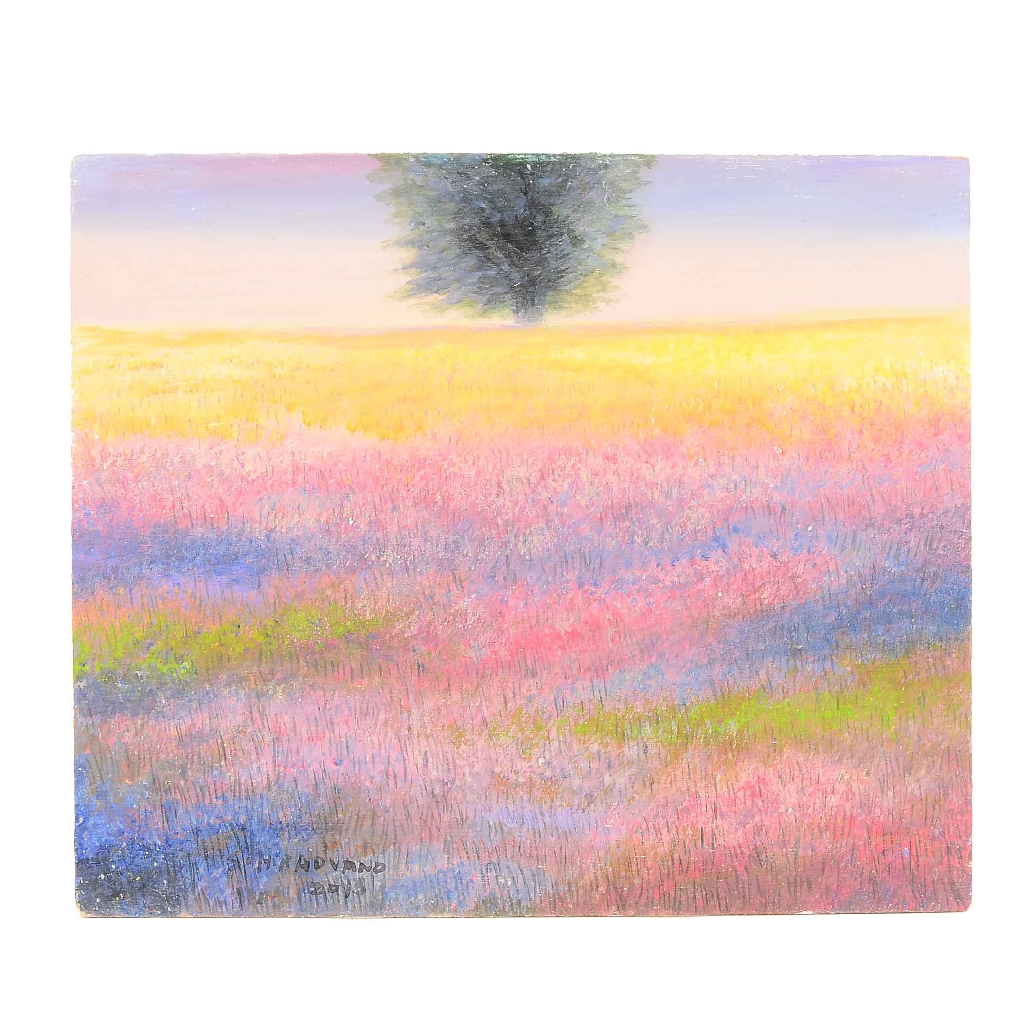 Sulmaz H. Radvand Impressionist Plein Air Landscape Painting on Board