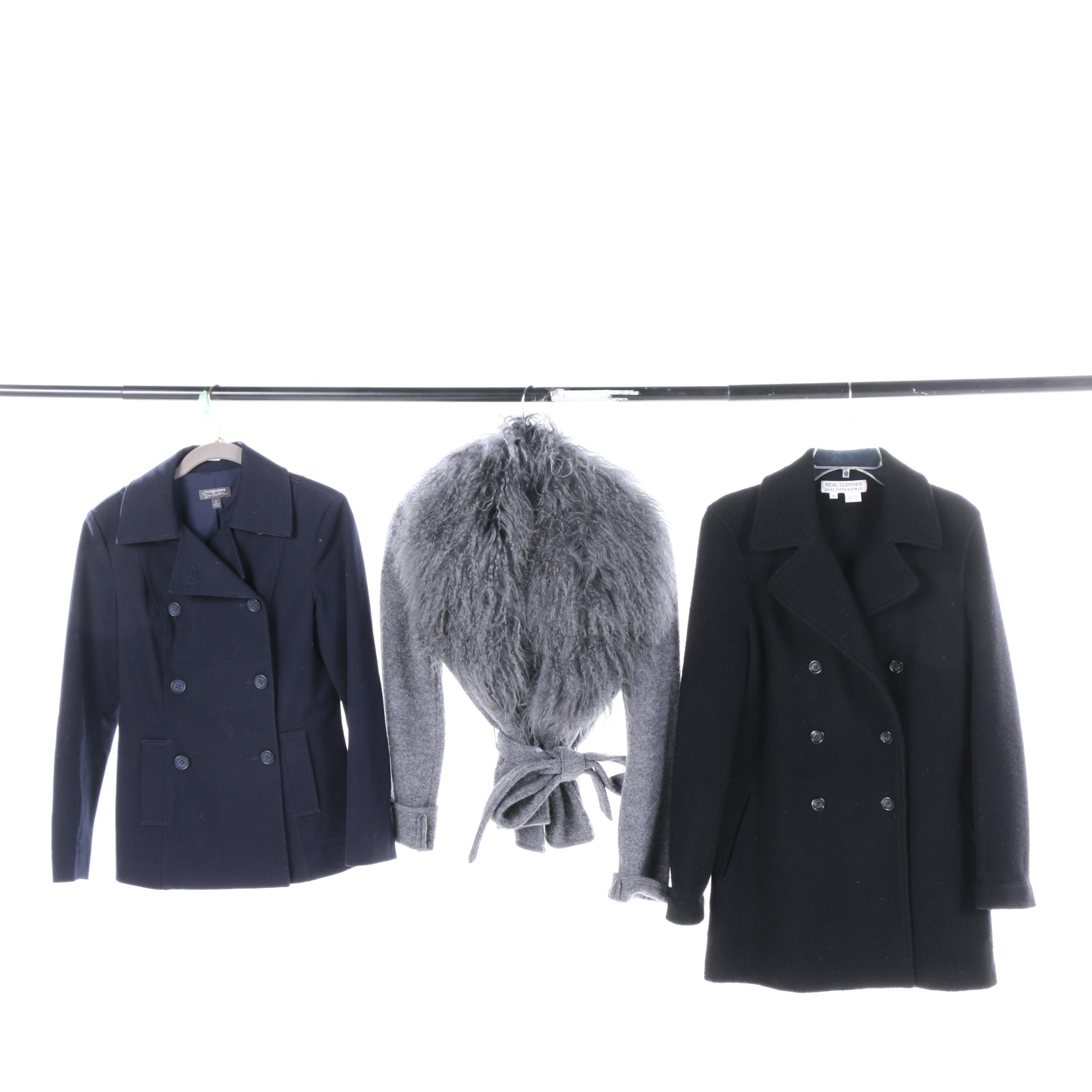 Peacoats and Sweater with Mongolian Lamb Fur Collar Including Saks Fifth Avenue