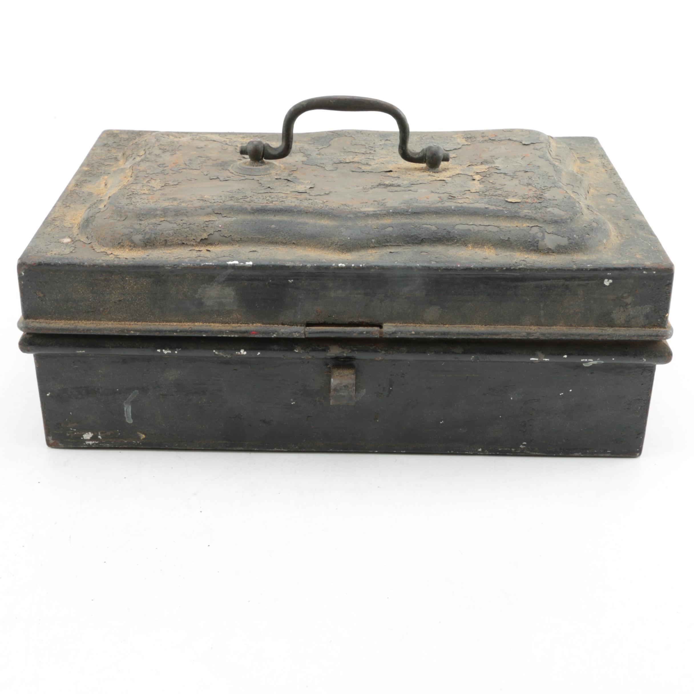 Antique Metal Spice Box with Interior Storage Tins