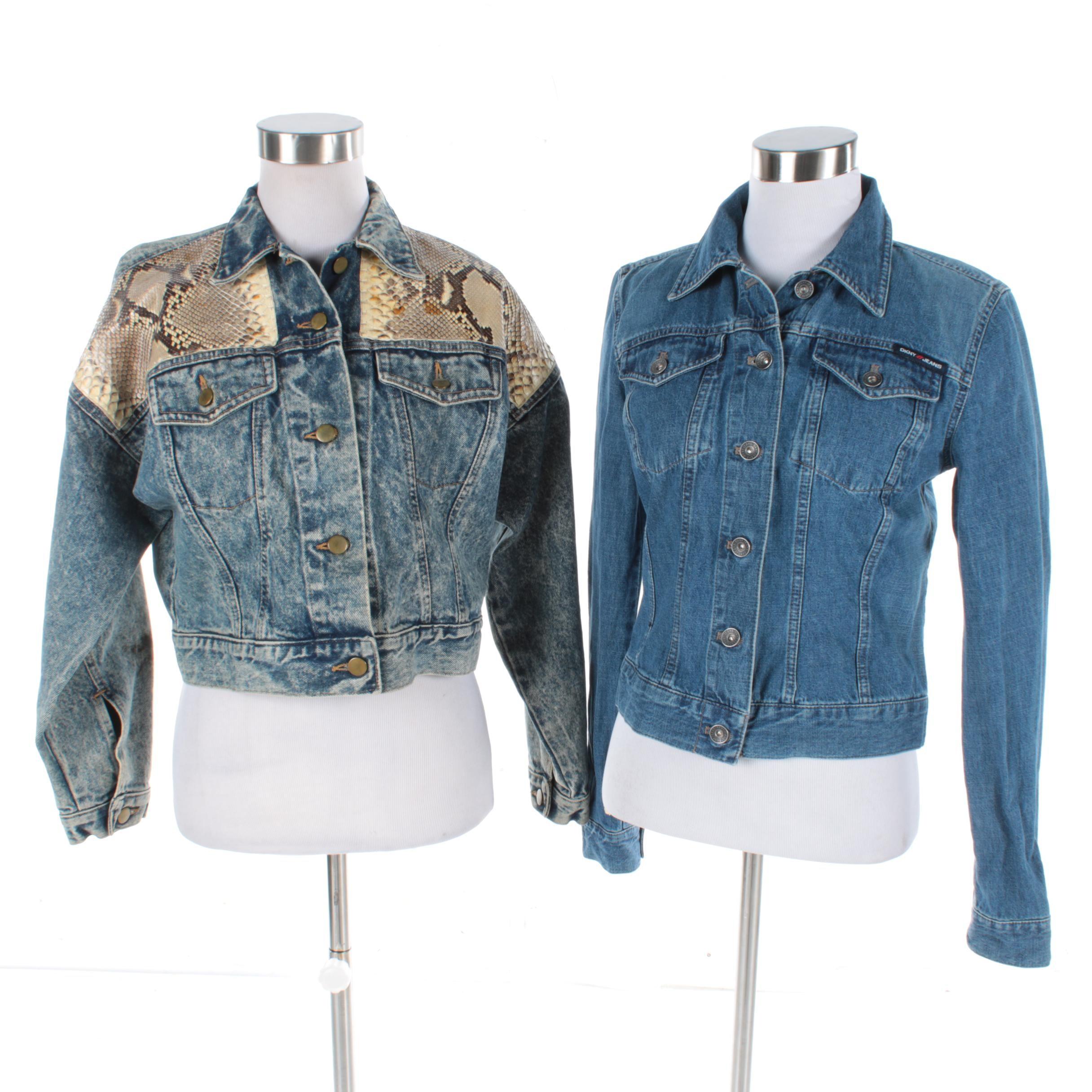 Women's Jensen Smith Python Skin Denim Jacket and DKNY Jeans Denim Jacket