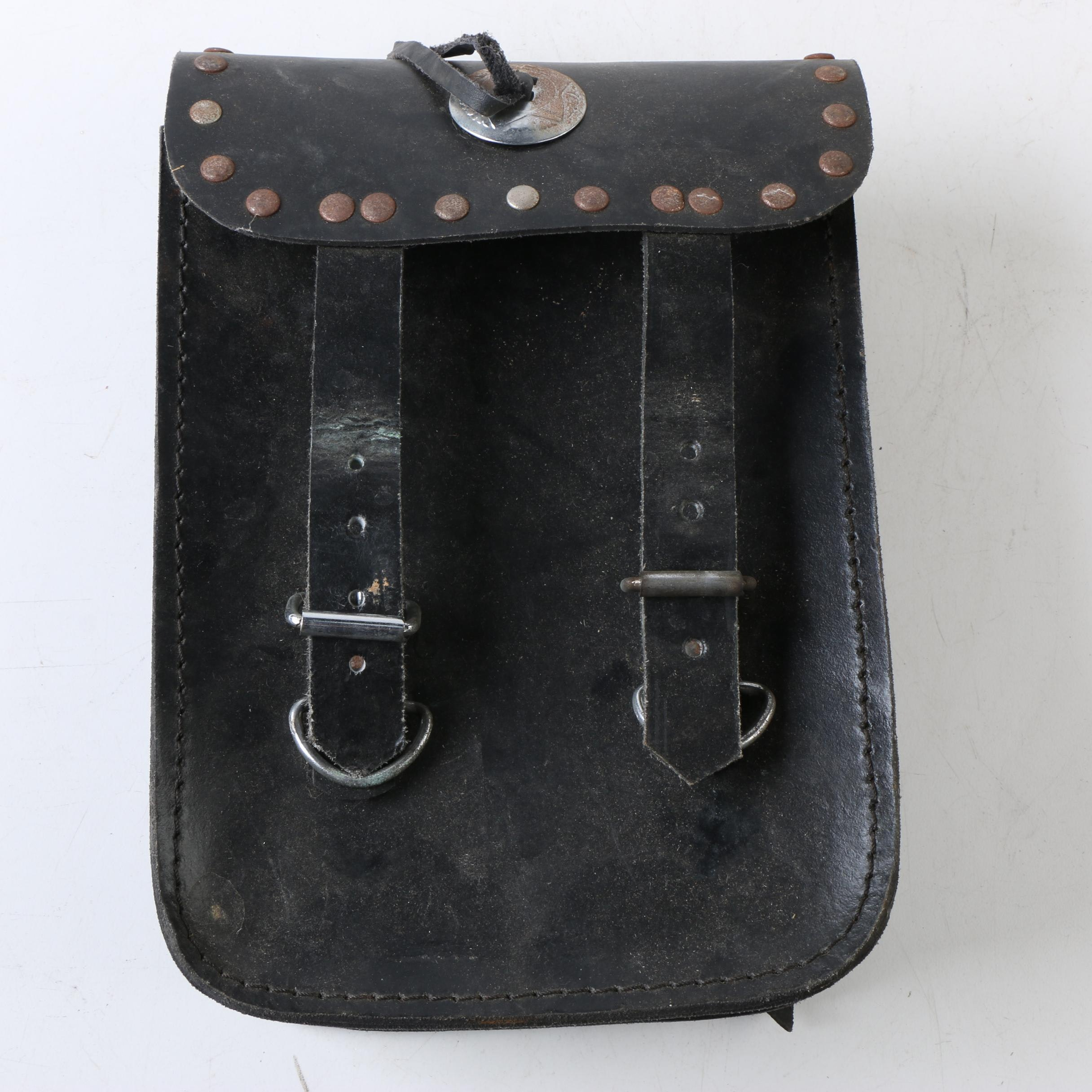 Vintage Black Leather Motorcycle Saddlebag with Silver Tone Concho and Trim