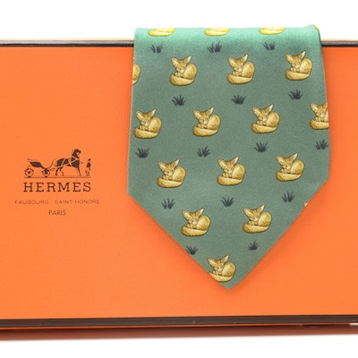 "Hermès Sage Green Silk ""Fox"" Necktie, Pattern 7436 HA, Made in France"