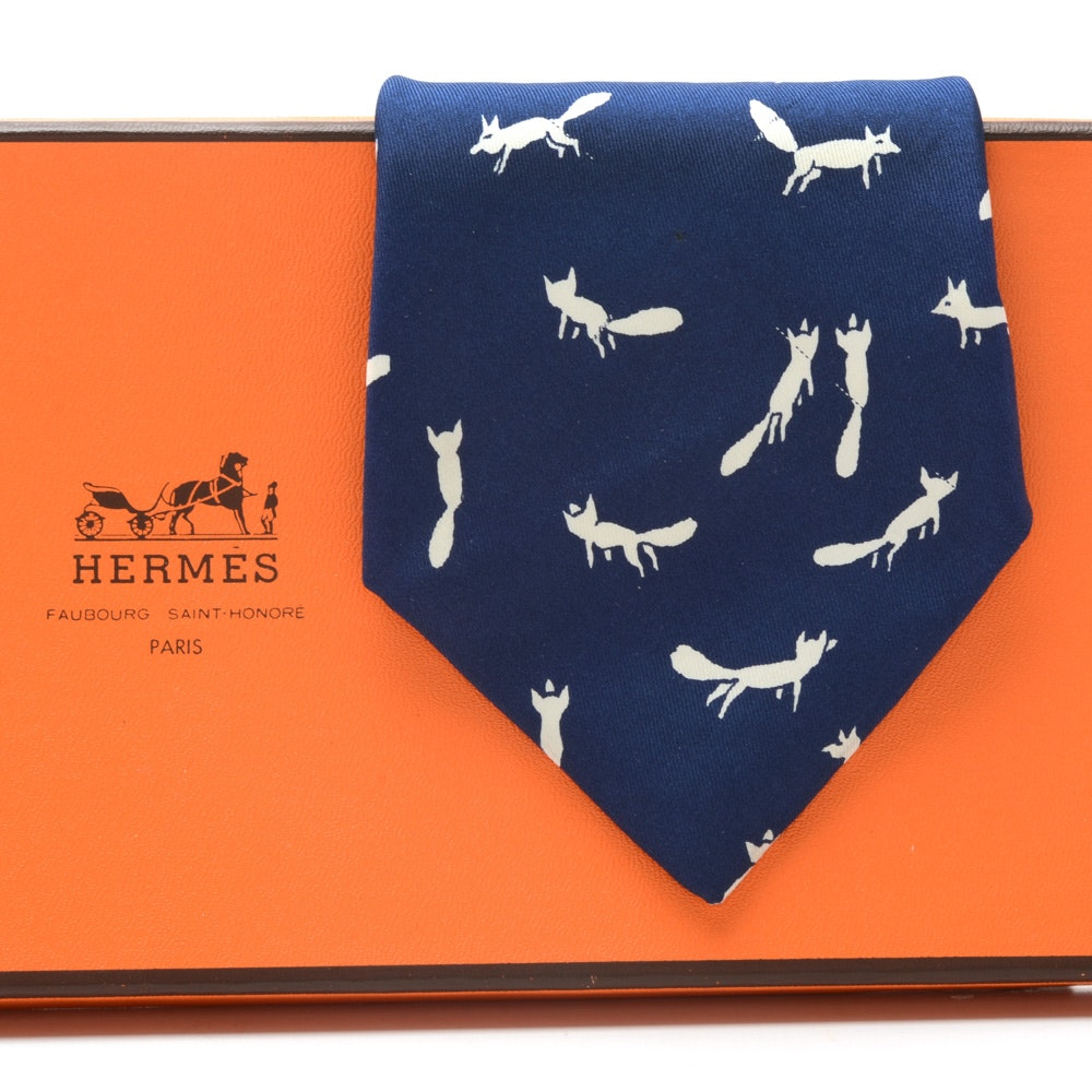 "Hermès of Paris Navy Blue and White Silk ""Fox"" Necktie (#378 EA), Made in France"