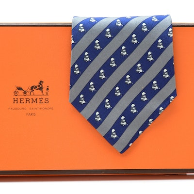 Hermès of Paris Silk Necktie with Bear in Blue and Gray Stripe, Made in France