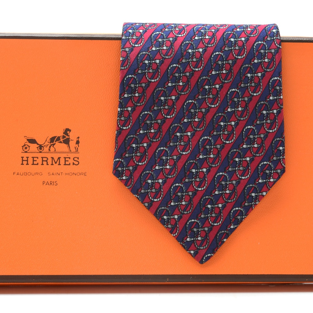 Hermès Navy Blue and Red Silk Equestrian Themed Necktie with Diagonal Stripes