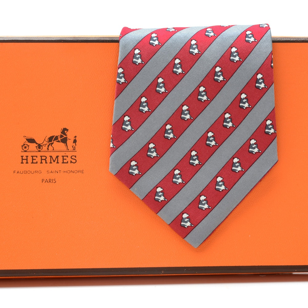 Hermès Silk Necktie with Bears in Red and Gray, #7101 OA, Made in France