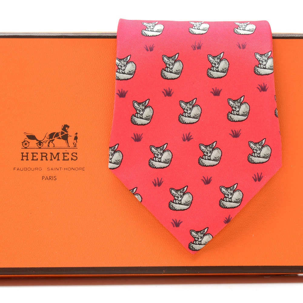 "Hermès of Paris Pink Silk ""Fox"" Necktie, Pattern 7436 HA, Made in France"
