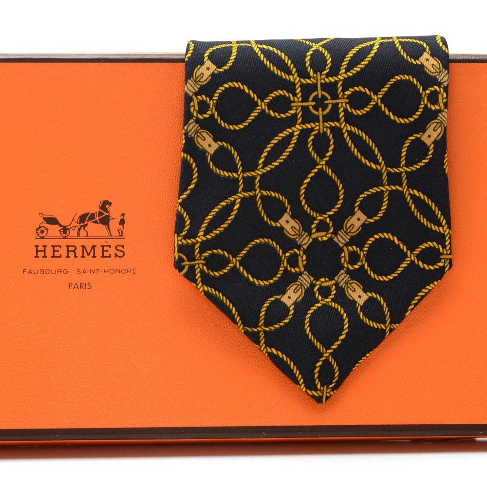 Hermès of Paris Black and Gold Silk Necktie, Pattern #496, Made in France