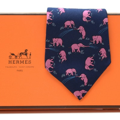 Hermès Silk Necktie with Pink Elephants, Pattern #7111OA, Made in France