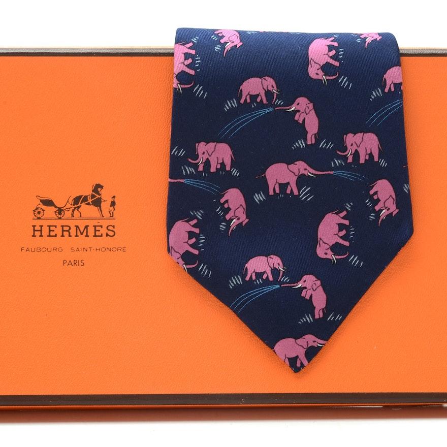 Hermès Silk Necktie with Pink Elephants, Pattern #7111OA, Made in France