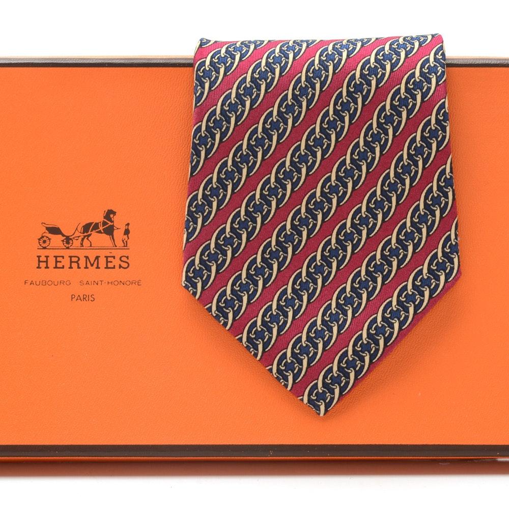 Hermès of Paris 7017 TA Red, Navy and Gold Tone Silk Necktie