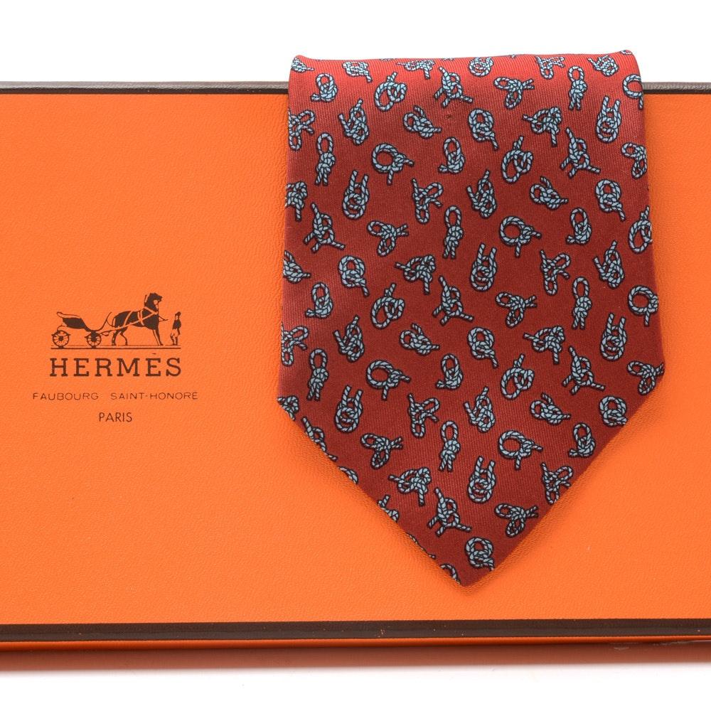 "Hermès Silk Necktie in ""Knot"" Pattern (#771 UA), Made in France"